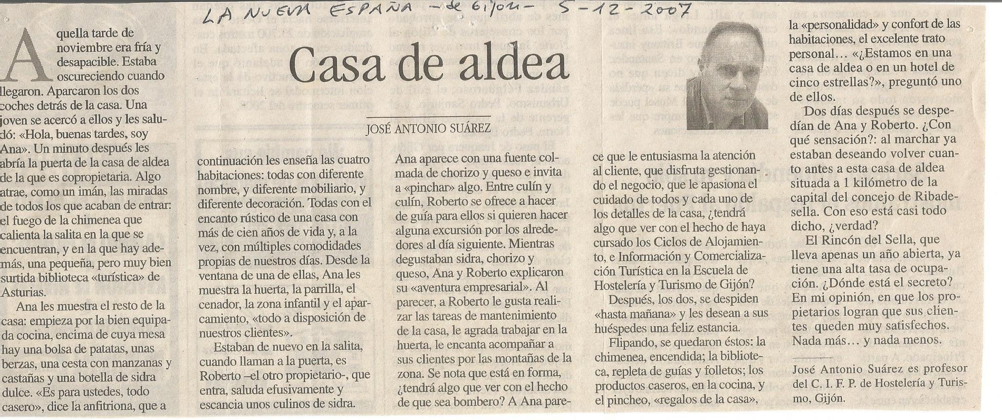 Nuestra casa de Aldea. Por J.A. Suárez