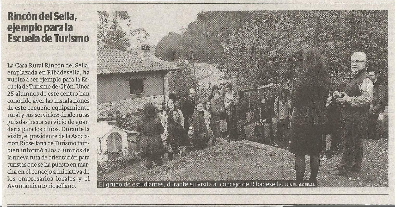 Nuestra casa como ejemplo para los alumnos de la escuela de Turismo de Gijón