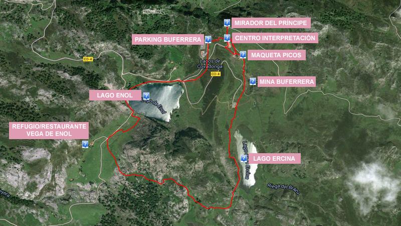 Mapa ruta de los 3 lagos